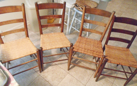 LADDER BACK RUSHED KITCHEN CHAIRS