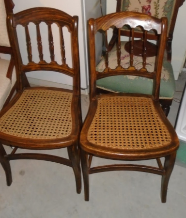 2 CAINED DINING CHAIRS