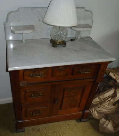 WALNUT COMMODE & WATERFORD LAMP