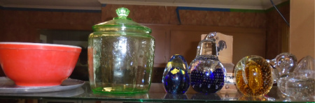 GREEN CANDY JAR PAPER WEIGHTS