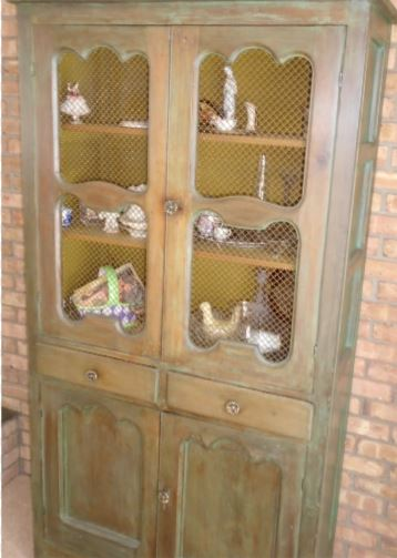 ANTIQUE PINE CHINA CABINET