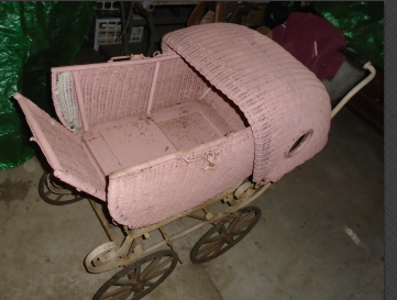 WICKER BABY BUGGY