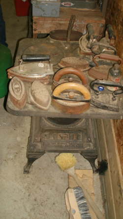 WHERLE LAUNDRY STOVE OLD IRONS